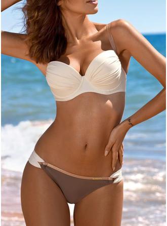 Egyszínű Alacsony derék Pánt V-nyak Szexis Friss Vonzó Bikinik Μαγιό