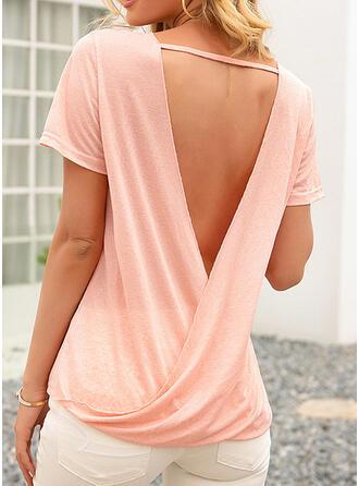 Backless Basic Solid Rund-ringning Korta ärmar T-tröjor