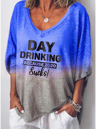 Print Figure V-Neck 3/4 Sleeves Casual Blouses