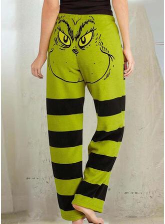 Striped Print Drawstring Christmas Casual Sporty Pants
