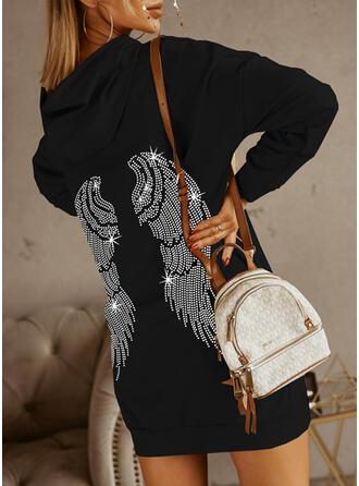 印刷 長袖 ドロップショルダー シフトドレス 膝上 カジュアル スウェットシャツ ドレス