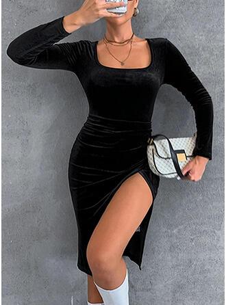 固体 長袖 シースドレス 膝丈 カジュアル ドレス