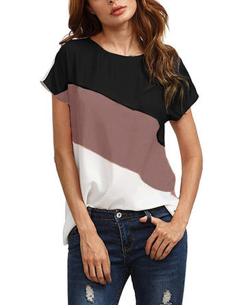 Bloque de color Cuello redondo Manga corta Casual Camisetas