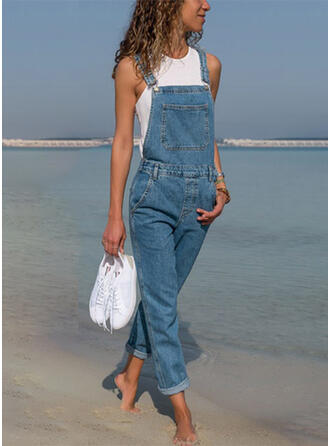 Solid Strap Sleeveless Casual Vacation Denim Jumpsuit