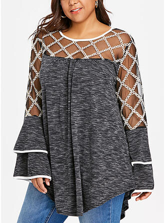 Solid Round Neck Flare Sleeve Long Sleeves Casual Plus Size Blouses