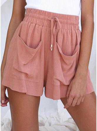 Sólido Lino Por encima de la rodilla Casual Vacaciones Tallas Grande Bolsillo shirred cordraystring Pantalones Pantalones cortos