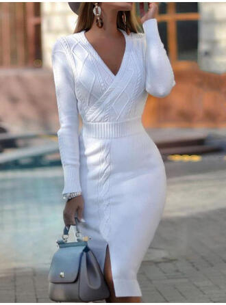 Solid/Chunky knit/Cable-knit Long Sleeves Bodycon Knee Length Casual/Long/Tight Dresses