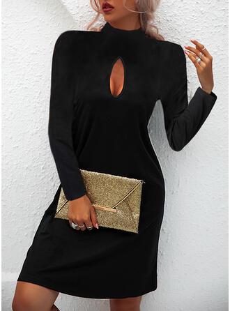 Sólido Manga Larga Vestidos sueltos Sobre la Rodilla Pequeños Negros/Casual Vestidos