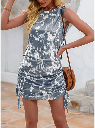 Tie Dye Sleeveless Sheath Above Knee Casual Dresses