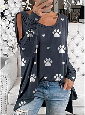 Stampato Animale Spalle esposte Maniche lunghe Casuale Camicie