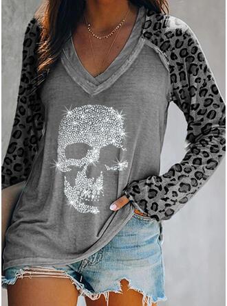 Pailletten luipaard V-hals Lange Mouwen Casual T-shirts