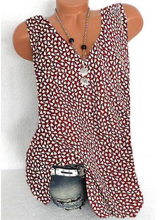 Impresión Cuello en V Sin mangas Casual Blusas