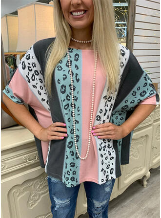 Color Block Leopard Round Neck 1/2 Sleeves T-shirts