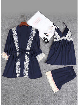 Polyester Spandex Lace Plain Halter Sexy 3pcs Cami Set Robe