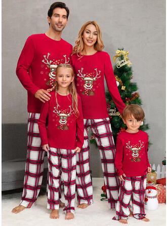 Ελάφια Καρό ύφασμα Οικογένεια Εμφάνιση Χριστουγεννιάτικες πιτζάμες