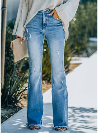 Solid Jean Lang Elegant Årgang Plus størrelse Lomme Denim & Jeans