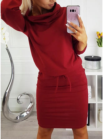 Solid Long Sleeves Bodycon Knee Length Christmas/Casual Dresses