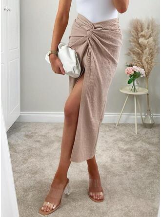 ポリエステル プレーン ミッドカーフ 鉛筆のスカート ハイスリットスカート