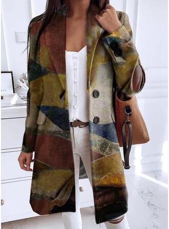 Manga Larga Impresión Abrigo lana