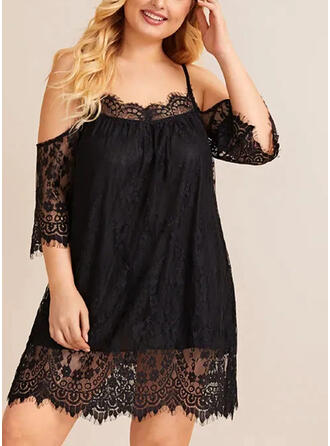 Plus Size Lace Solid 3/4 Sleeves Cold Shoulder Sleeve Shift Above Knee Casual Dress
