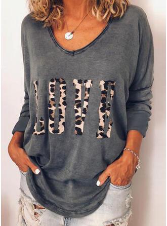 Leopardo Cuello en V Manga Larga Casual Camisetas