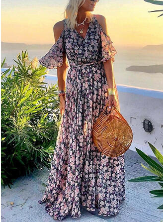 Impresión/Floral Top sin hombros Acampanado Casual/Vacaciones Maxi Vestidos