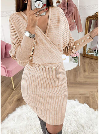 Jednolity Wysadzana perełkami Dekolt w kształcie litery V Casual Długie Dopasowany Sukienka sweterkowa