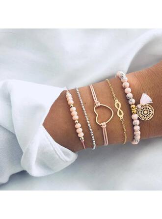 Oneindigheid Legering Kralen met Hart Etiket Armbanden (Set van 5)