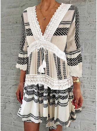 Lace/Print 3/4 Sleeves/Flare Sleeves Shift Knee Length Casual Dresses