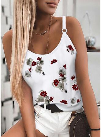 Virágos Minta Σπαγγέτι Strap Αμάνικο Μπλουζάκια