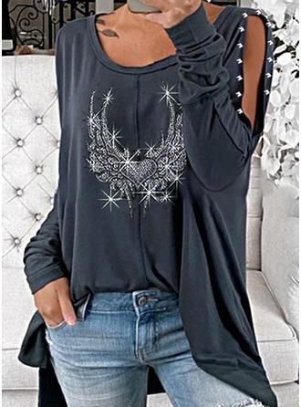 Flitry Odhalená Ramena Dlouhé rukávy Neformální Bluze