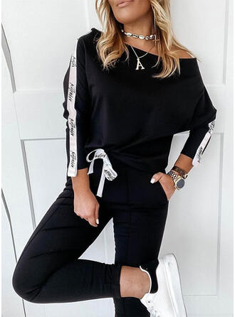 Letter Print Casual Plus Size Blouse & Two-Piece Outfits Set