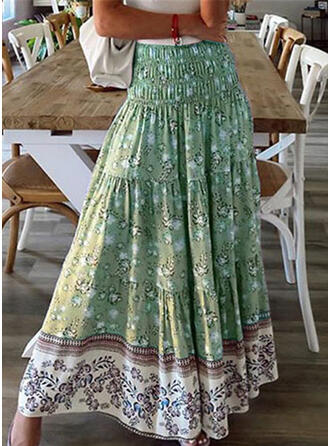 ポリエステル 印刷 フローラル ミッドカーフ ラインスカート