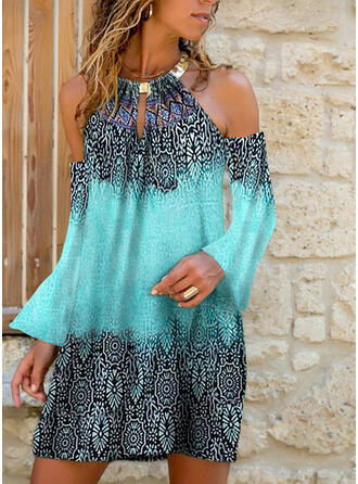 Print Cold Shoulder Mouw Shift Boven de knie Casual Jurken