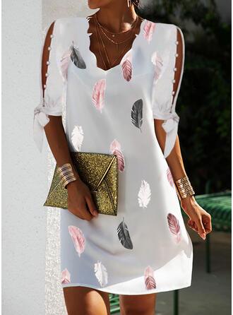 印刷 1/2袖 冷たい肩の袖 シフトドレス 膝上 エレガント ドレス