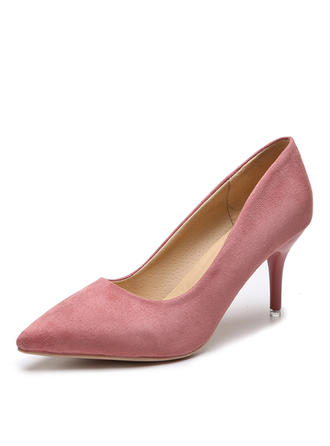 婦人向け スエード スティレットヒール ポンプ とともに ソリッドカラー 靴