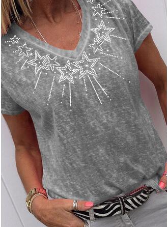 cekiny Dekolt w kształcie litery V Krótkie rękawy T-shirty