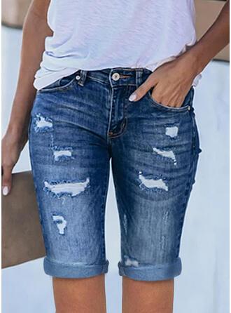 Sólido Juan Por encima de la rodilla Casual Tallas Grande Oficina / Negocios Bolsillo rasgados Pantalones cortos Vaqueros