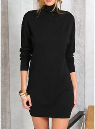 Egyszínű Hosszú ujjú Testre simuló ruhák Térd feletti Kis fekete/Hétköznapokra φορέματα