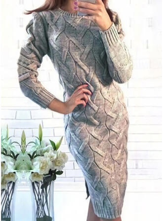 Sólido Manga Comprida Bodycon Comprimento do joelho Casual Suéter Vestidos