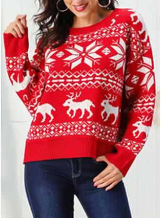 Print Cable-knit Chunky knit Round Neck Casual Christmas Ugly Christmas Sweater