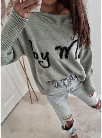 印刷 文字 ラウンドネック カジュアル セーター