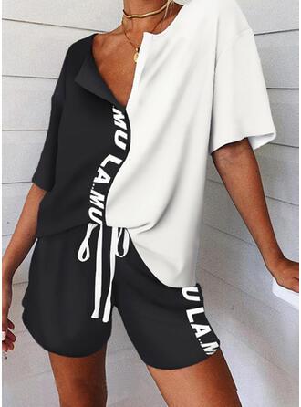 Brev Print Color Block Sportig Fritids tee & Byxor Tvådelade kläder uppsättning