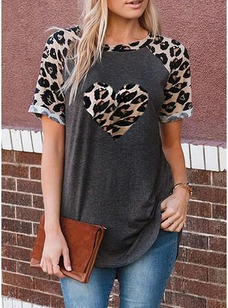 Impresión Leopardo Cuello redondo Manga corta Casual Blusas