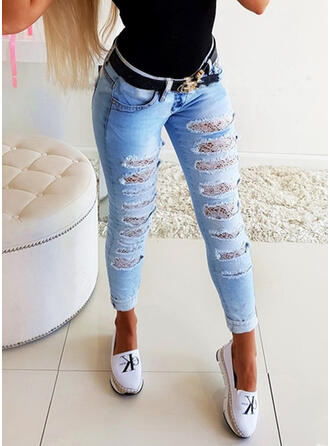 Shirred Ripped Long Sexy Solid Plain Denim & Jeans