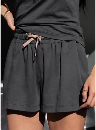 Sólido Por encima de la rodilla Casual Tallas Grande cordraystring Pantalones cortos