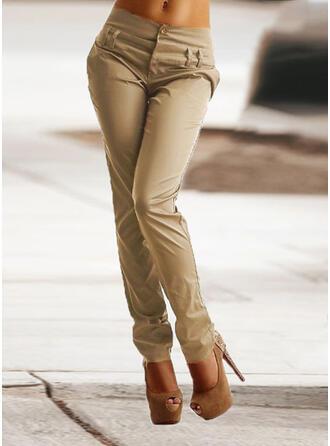 Pevný Nášivky Shirred Plus velikost Dlouho Elegantní Hubený Prostý Kalhoty