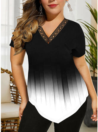 Tie Dye V-Neck Short Sleeves Casual Plus Size Blouses