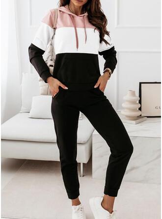 Color Block Casual Plus størrelse sweatshirts & 2-delt tøj sæt