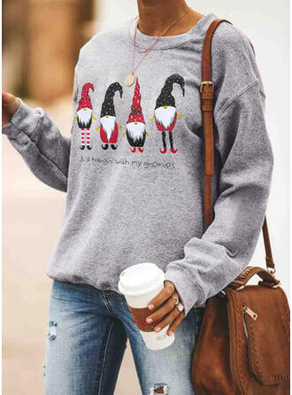 Print Round Neck Long Sleeves Casual Christmas Knit Blouses